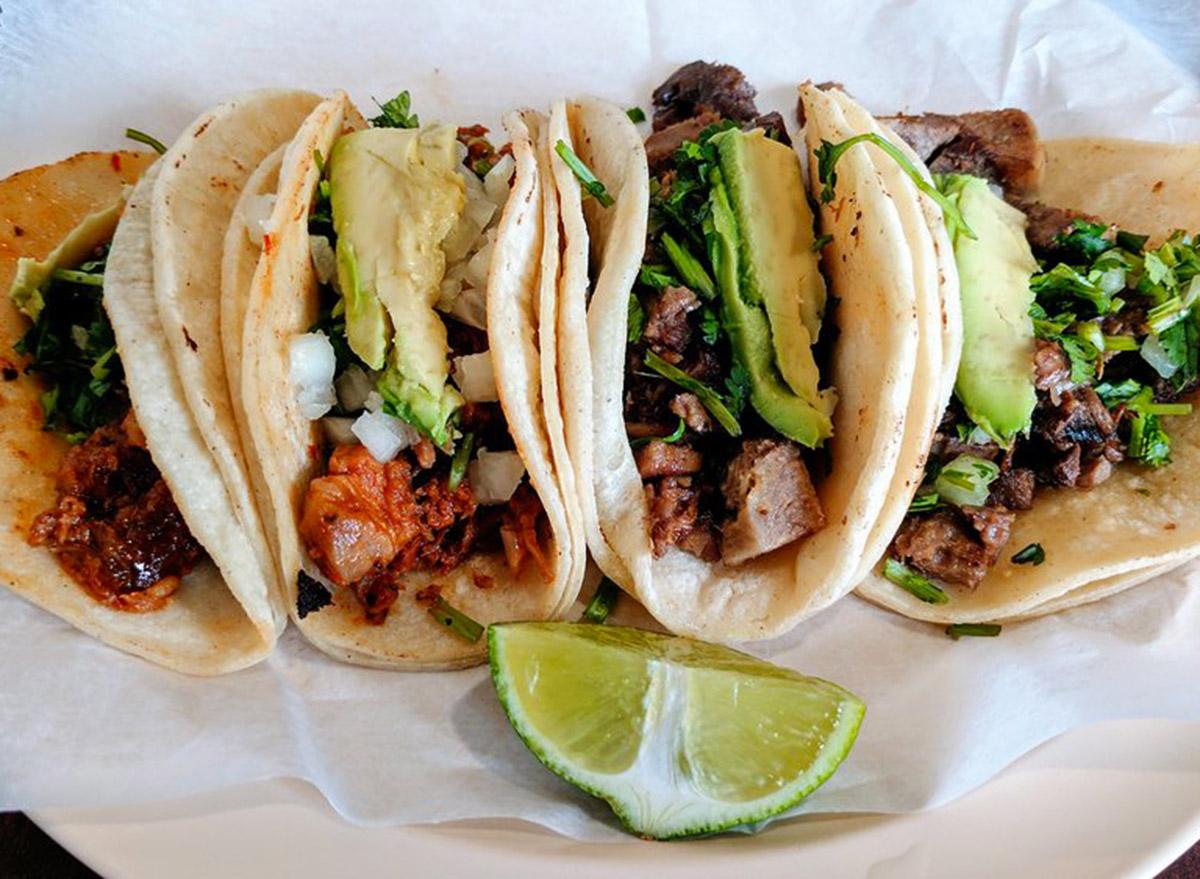 massachusetts taqueria el amigo spread of four tacos