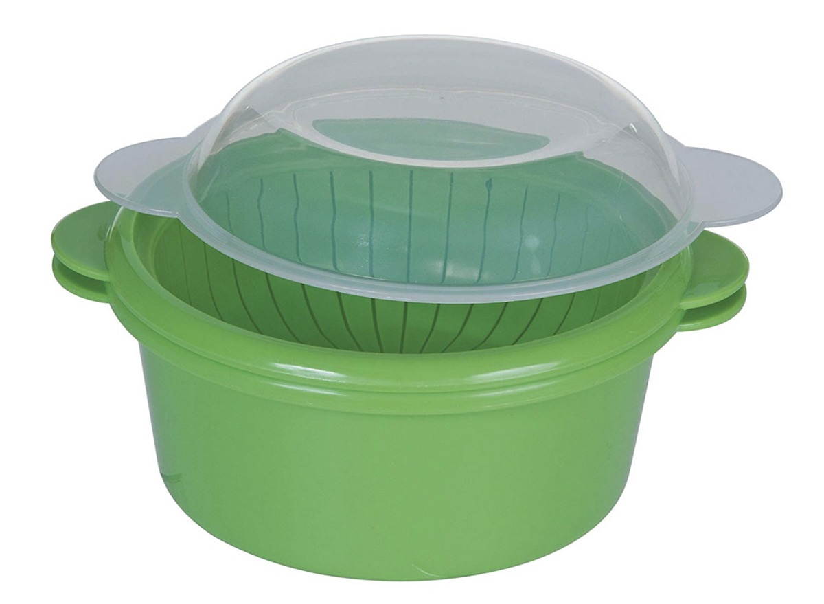 green veggie steamer with clear lid
