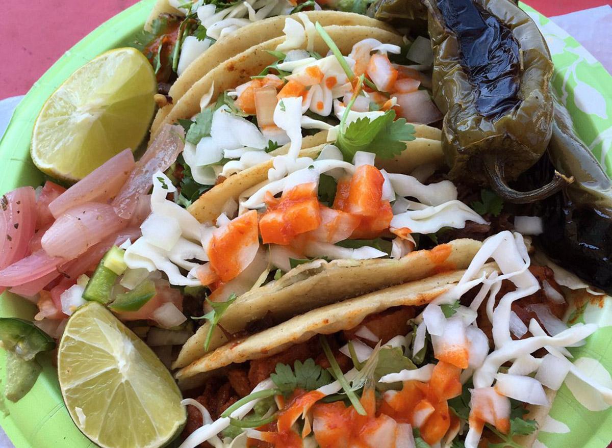 new mexico el chile toreado spread of four tacos