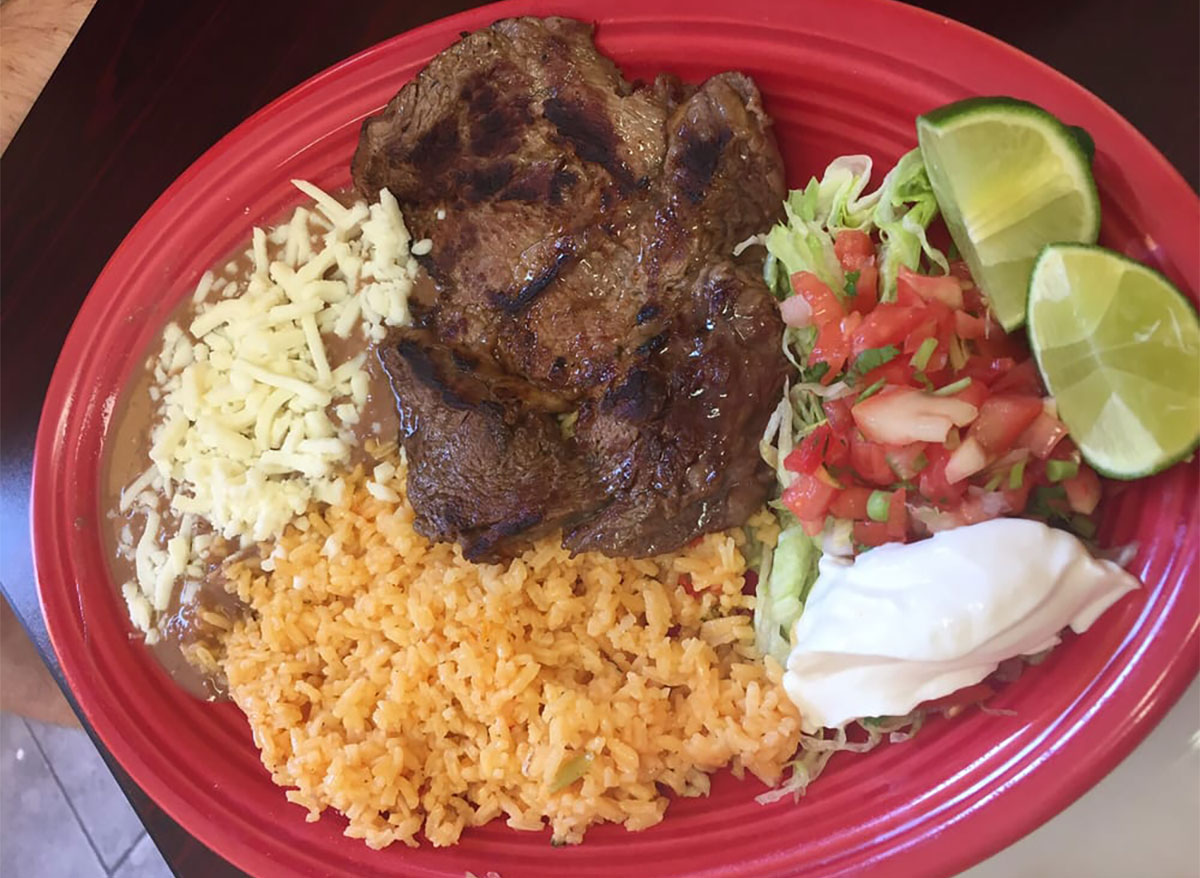 plate of food from los izotes in north carolina