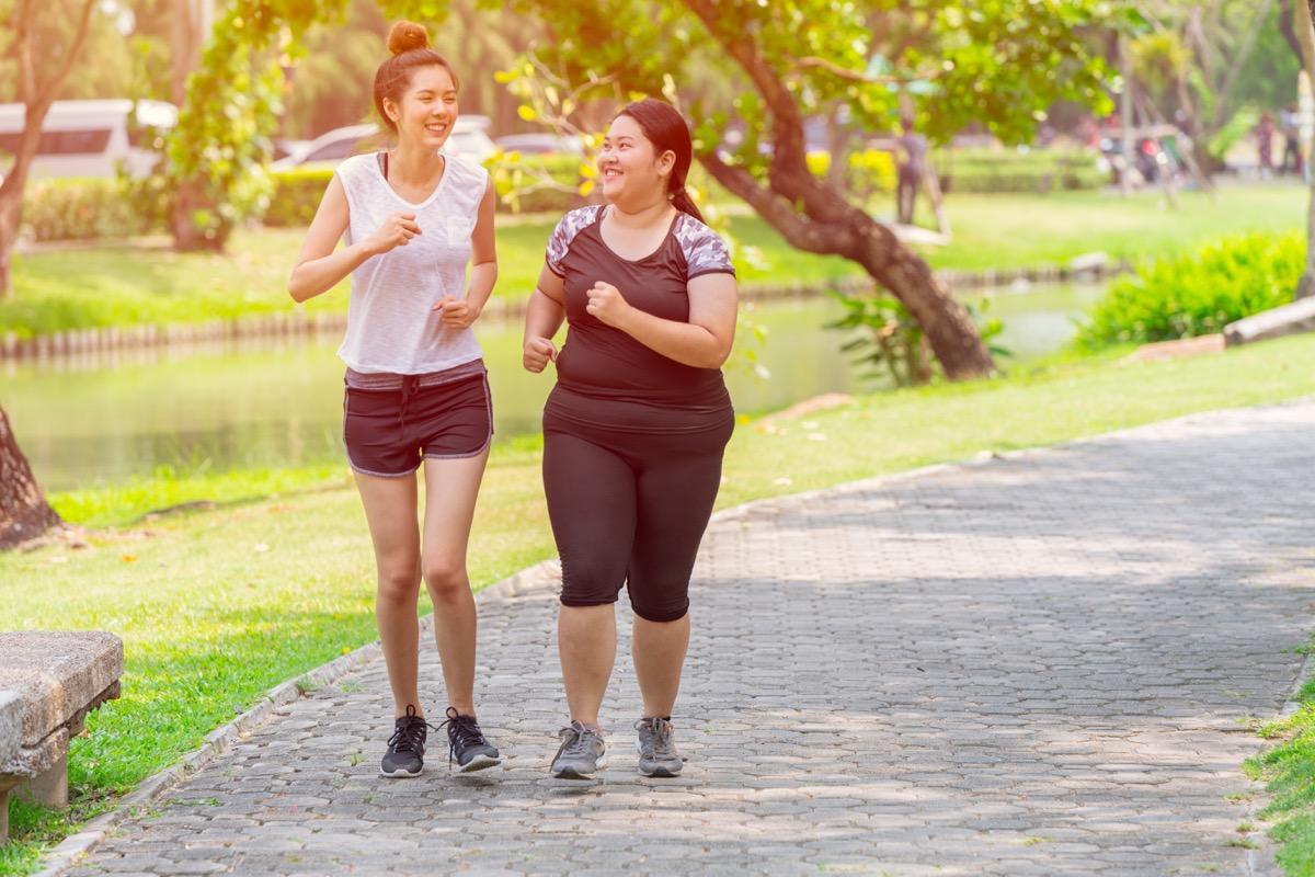 girls friend running jogging park outdoor in the morning