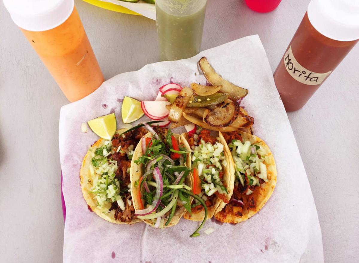 orgeon tehuana oaxacan spread of four tacos