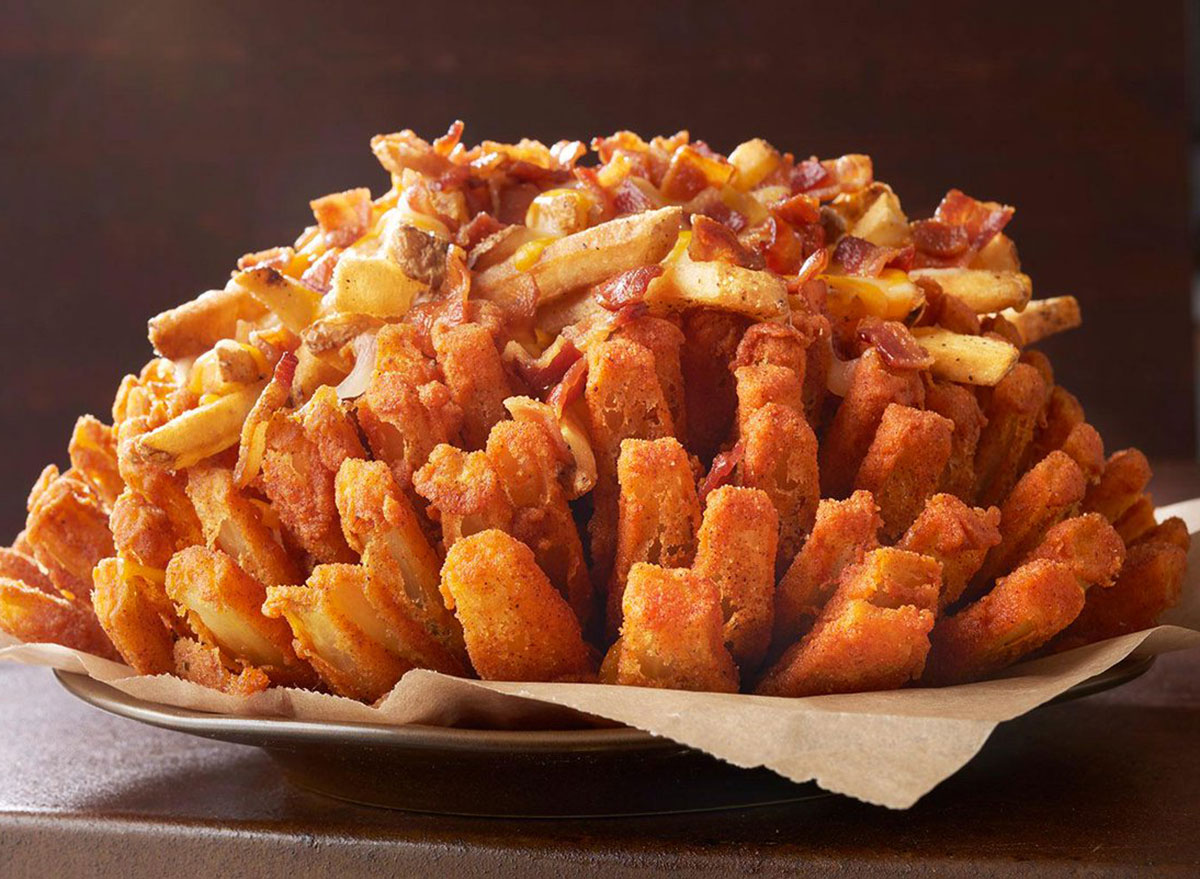 outback loaded bloomin onion topped with cheese fries and bacon
