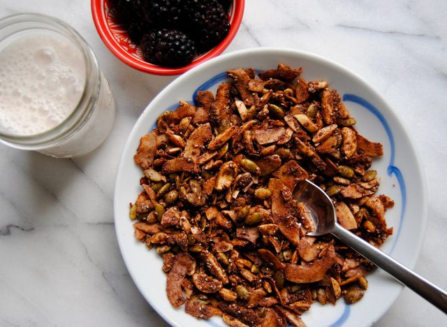 Paleo granola in a bowl ready to serve with breakfast.