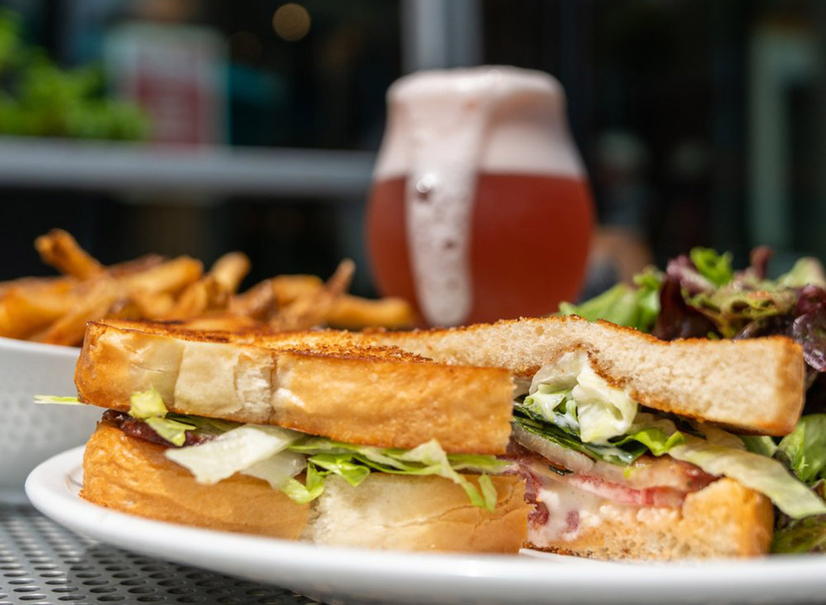 sandwich with thick white toast, lettuce and meat from pullman bar and diner