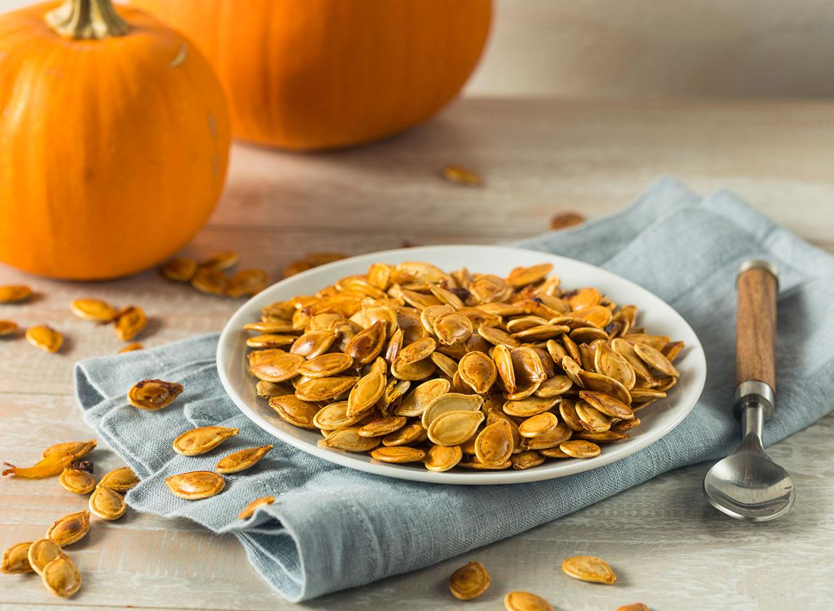 pumpkin seeds with pumpkins