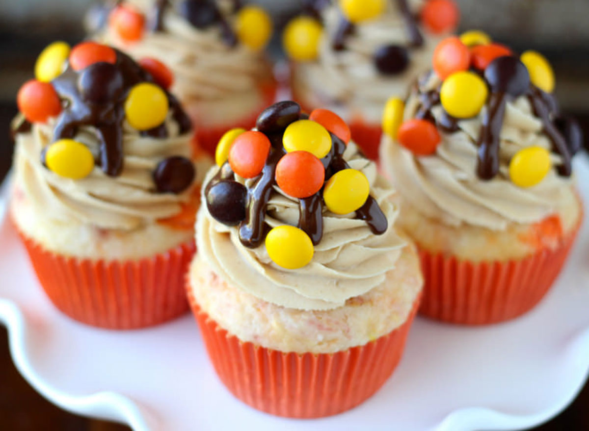 reeses pieces cupcakes on plate