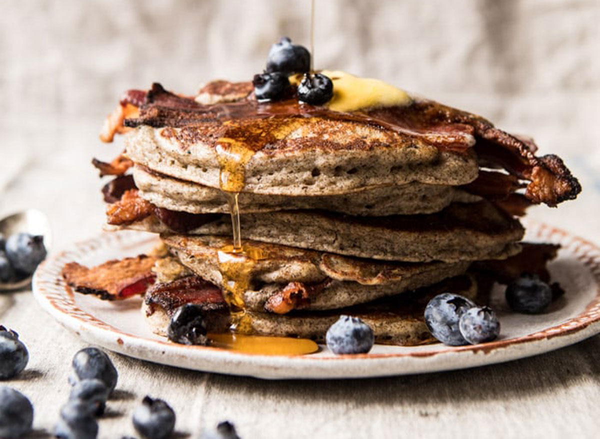 rye bacon pancakes with blueberries
