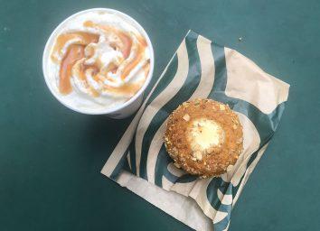 starbucks caramel apple spice drink and pumpkin cream cheese muffin