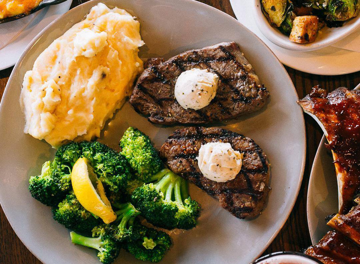 Center cut sirloin from TGI Fridays with a side of mashed potatoes and broccoli
