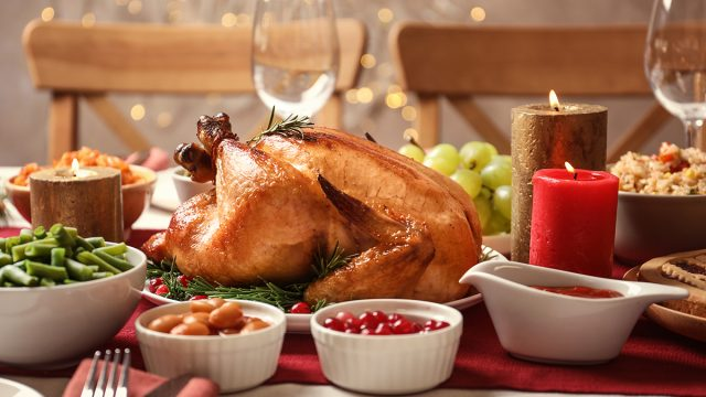 turkey at the center of thanksgiving day feast
