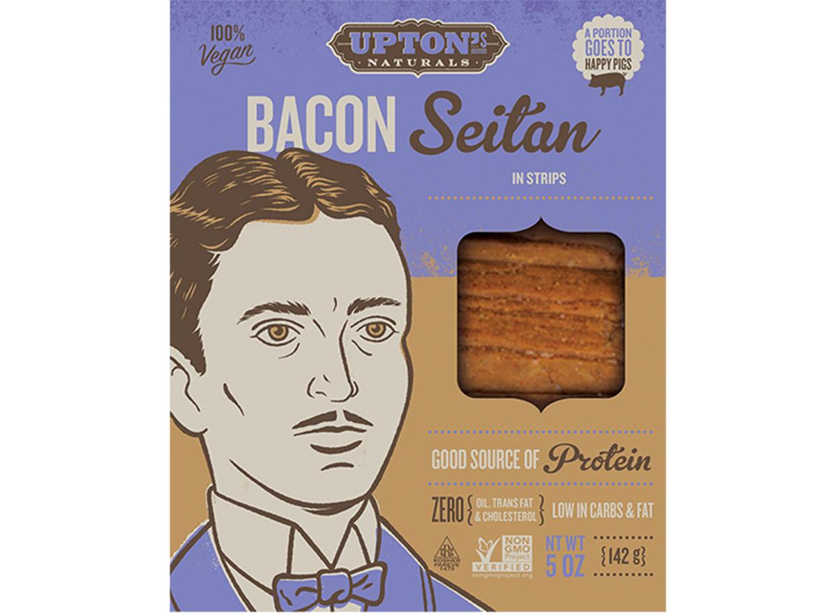 upton's naturals bacon seitan in box