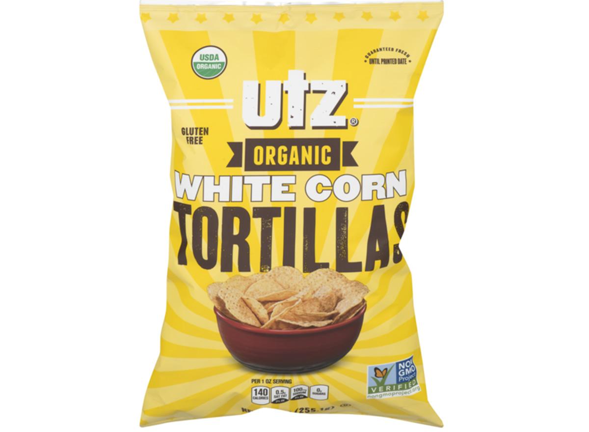 utz organic white corn tortillas in package