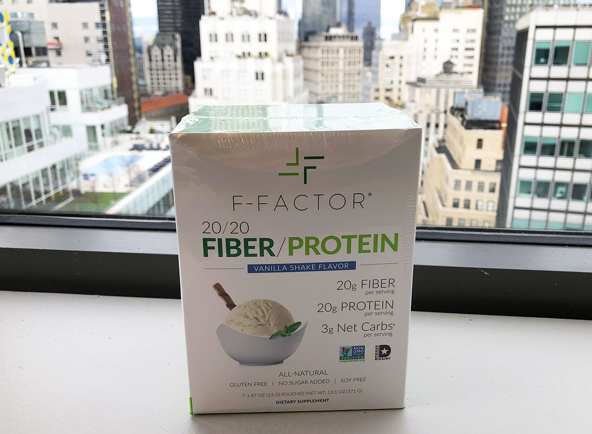 packaged box of vanilla shake flavored f-factor protein powder