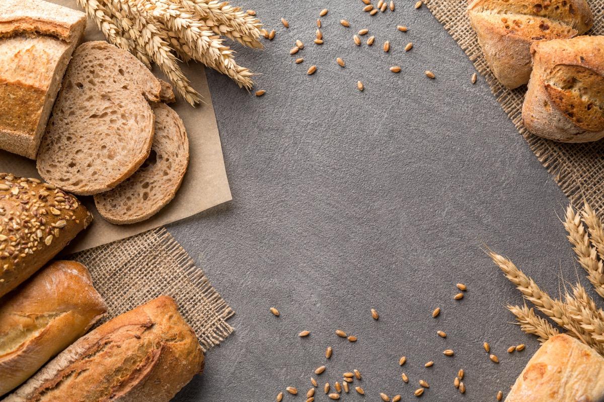 Bread border on dark wood
