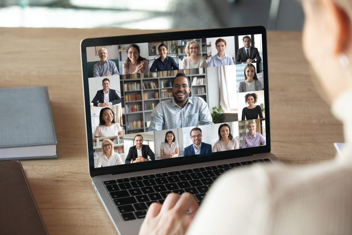 woman worker have Webcam group conference with coworkers on modern laptop at home