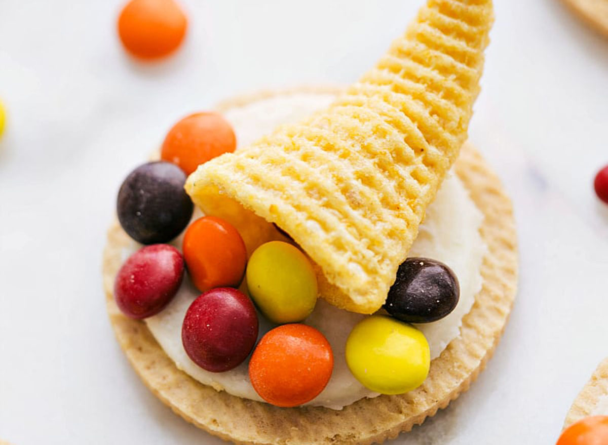 Cornucopia cookies with small candies on a shortbread cookie