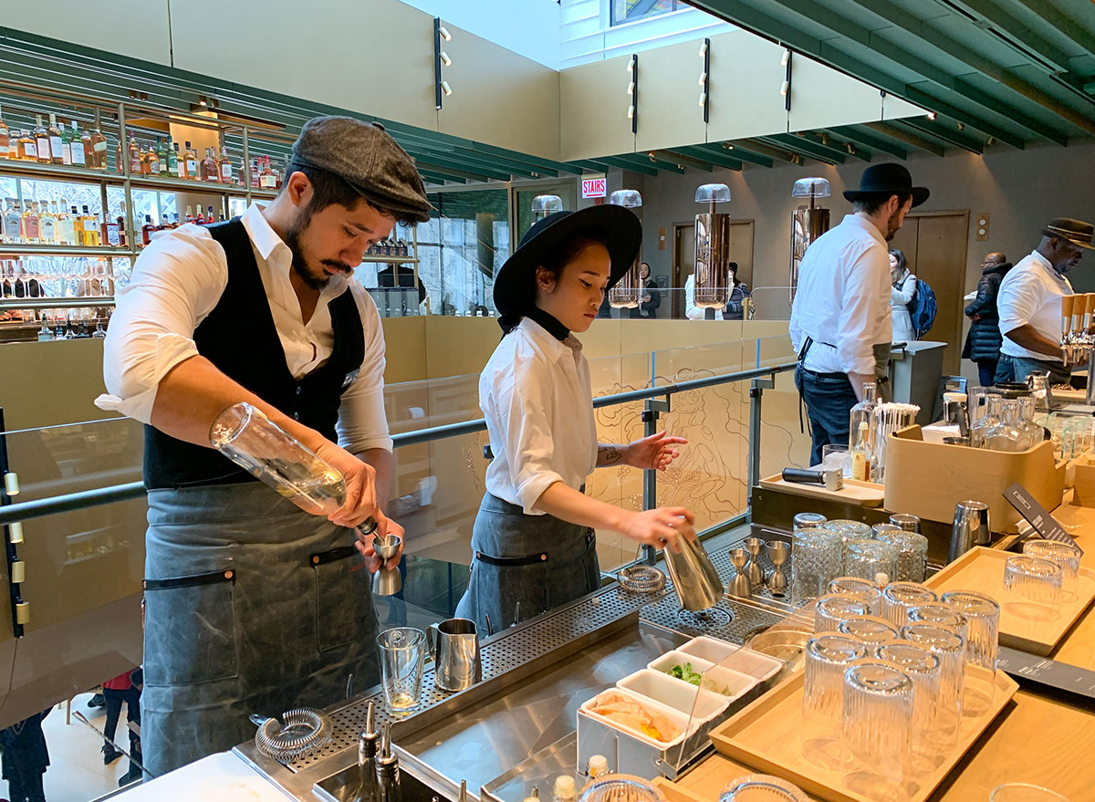 Mixologists working on coffee cocktails at the Starbucks Reserve in Chicago