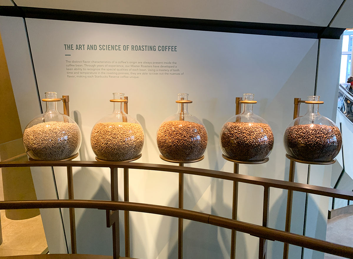 Different types of coffee beans to explain Starbucks Reserve roasting process