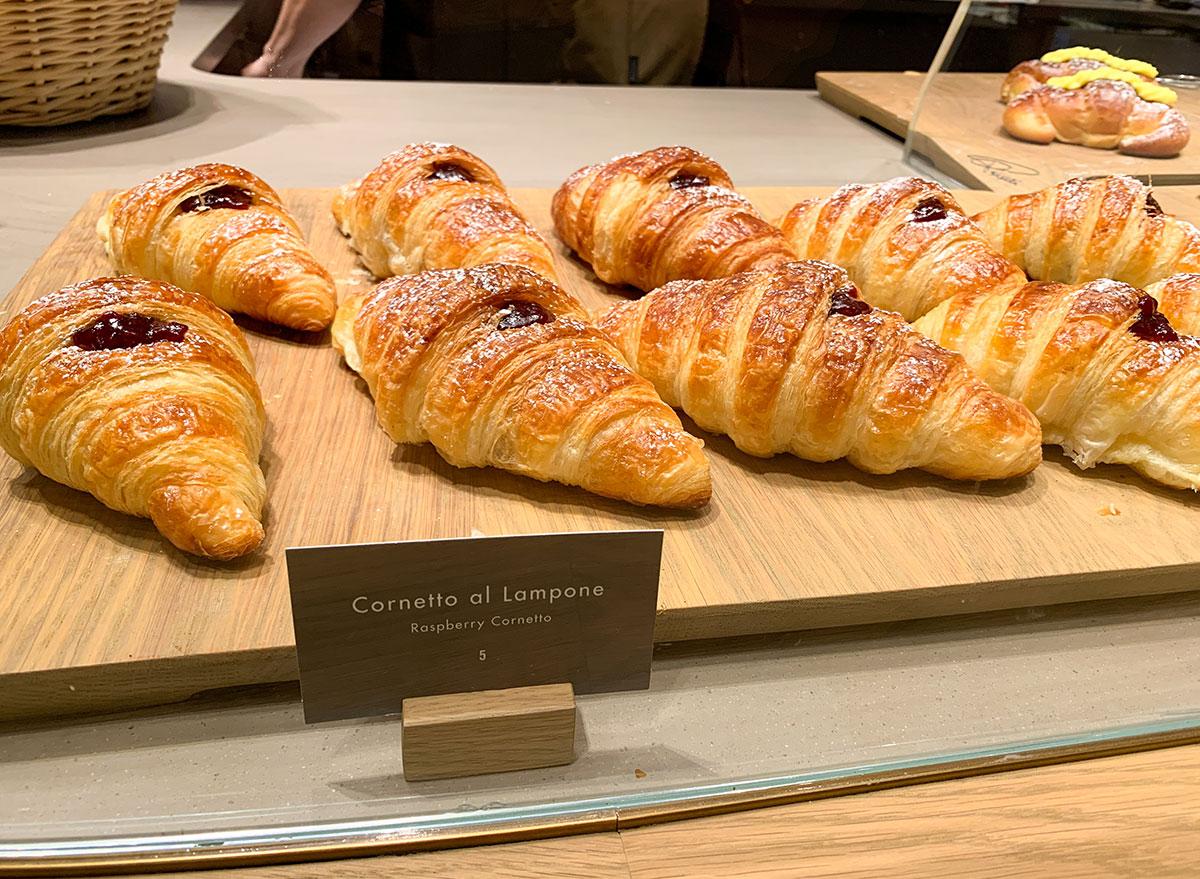 Raspberry croissants on display at Starbucks Reserve