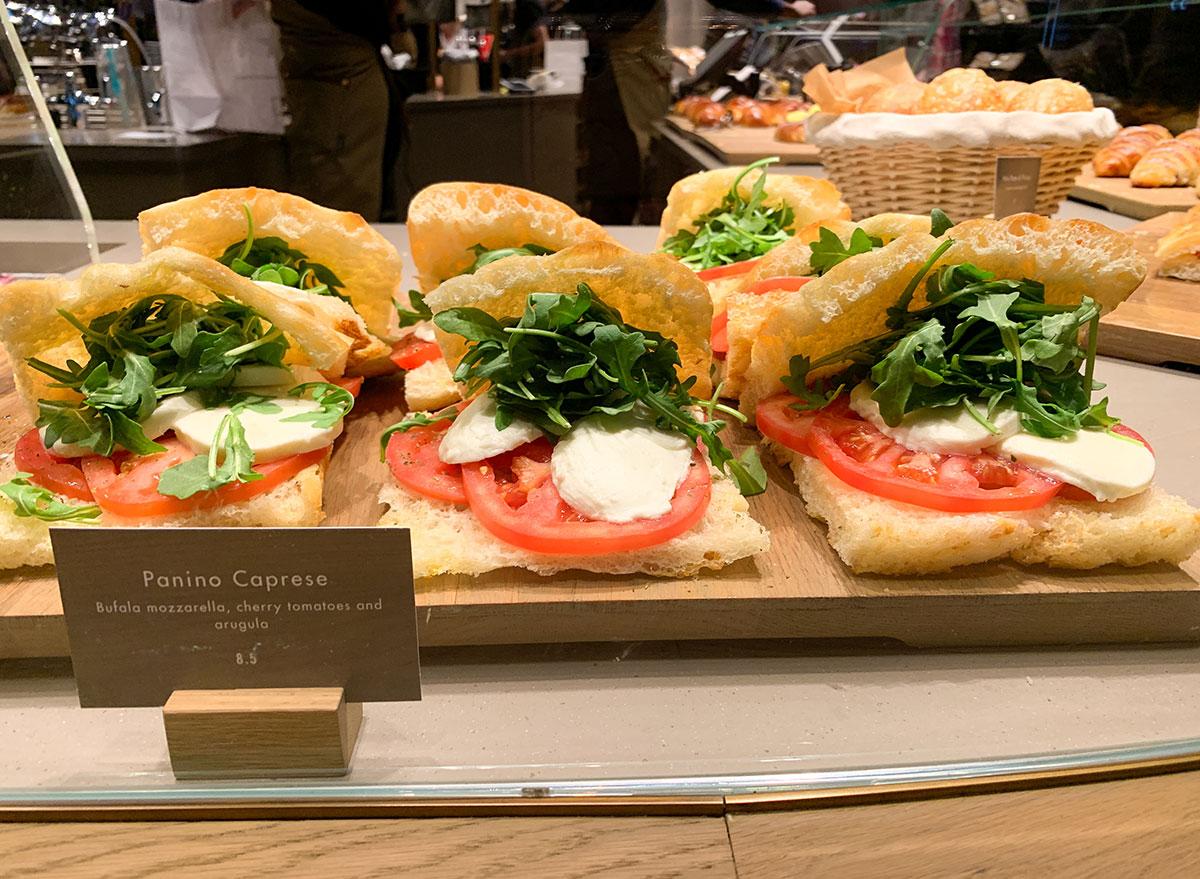 Caprese sandwiches on display at Starbucks