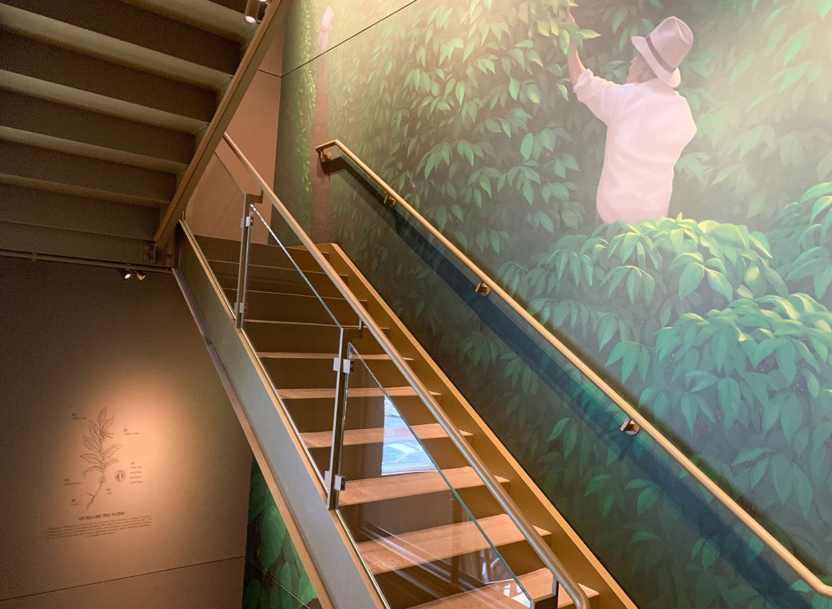 Original mural in the Starbucks Reserve stairwell from famous Chicago artist