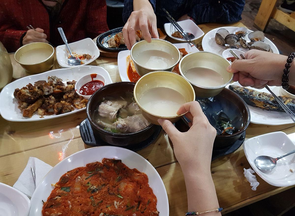 Makgeolli rice wine in bowls
