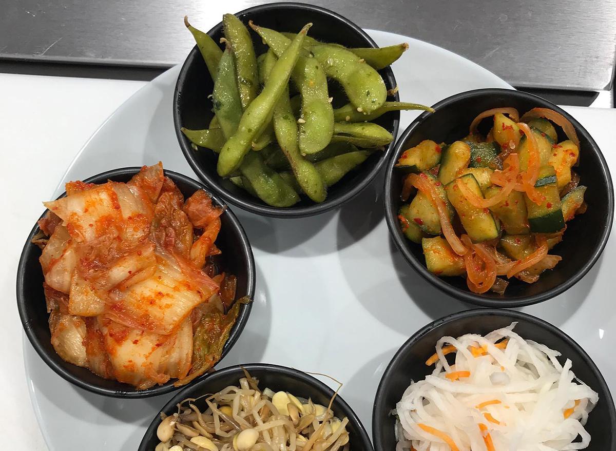 bowls of kimchi and edamame