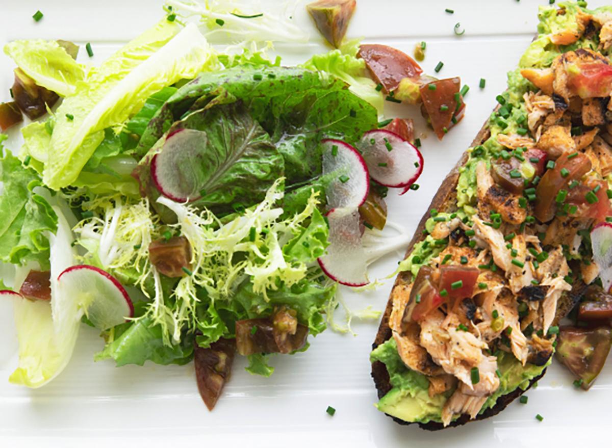 avocado toast with side salad