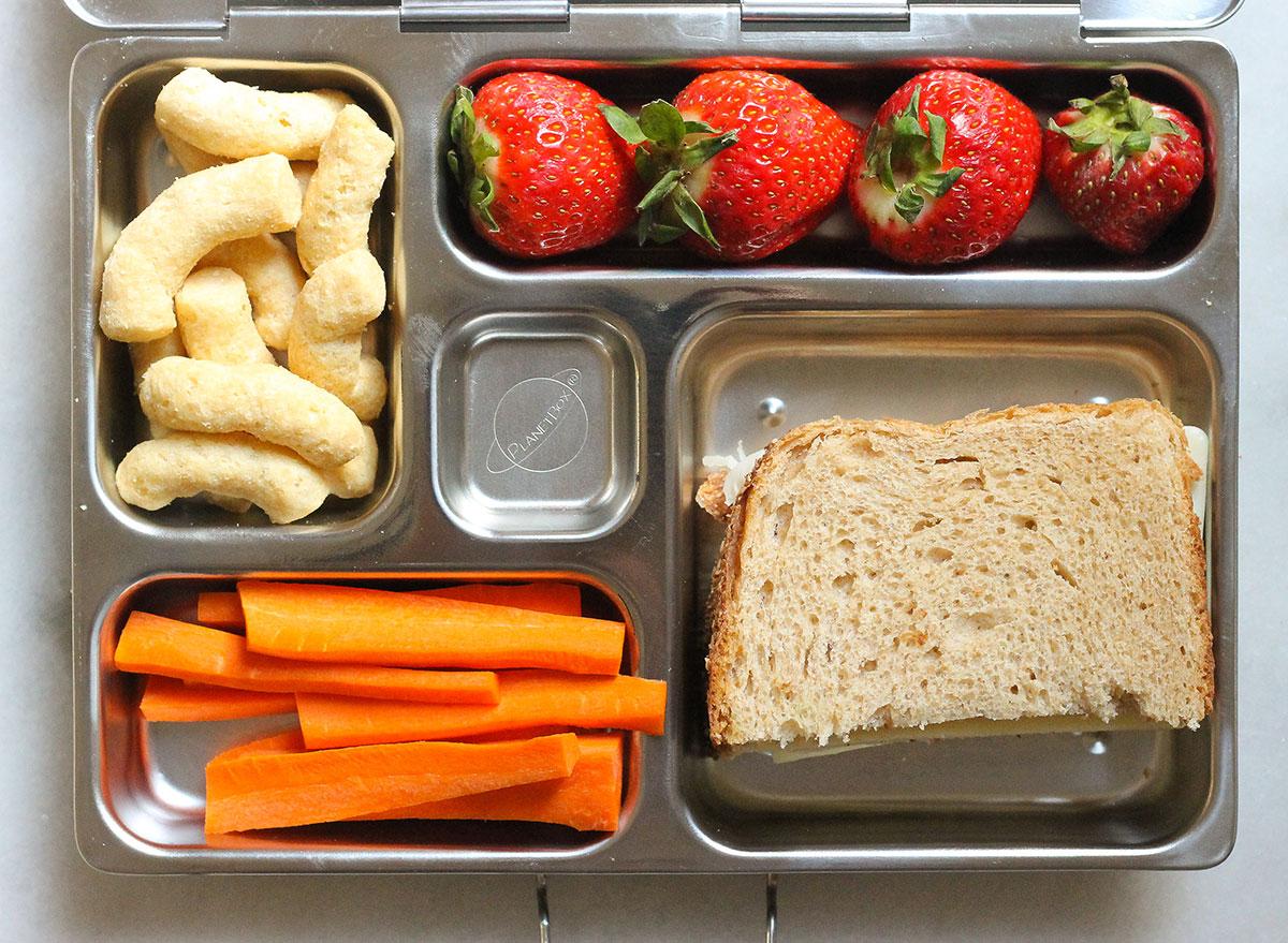 turkey and cheese sandwich bento box