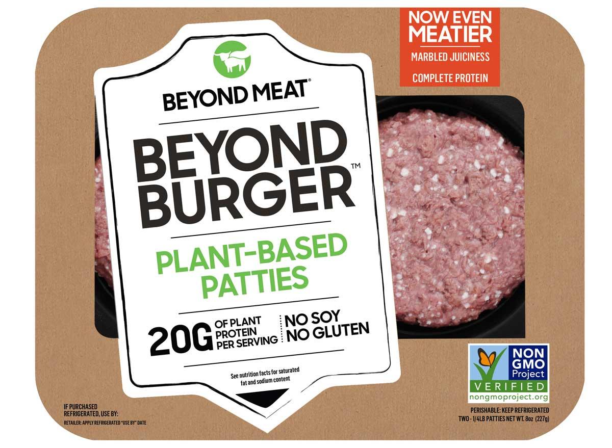 Beyond meat beyond burger plant based patties packaging recipe 2