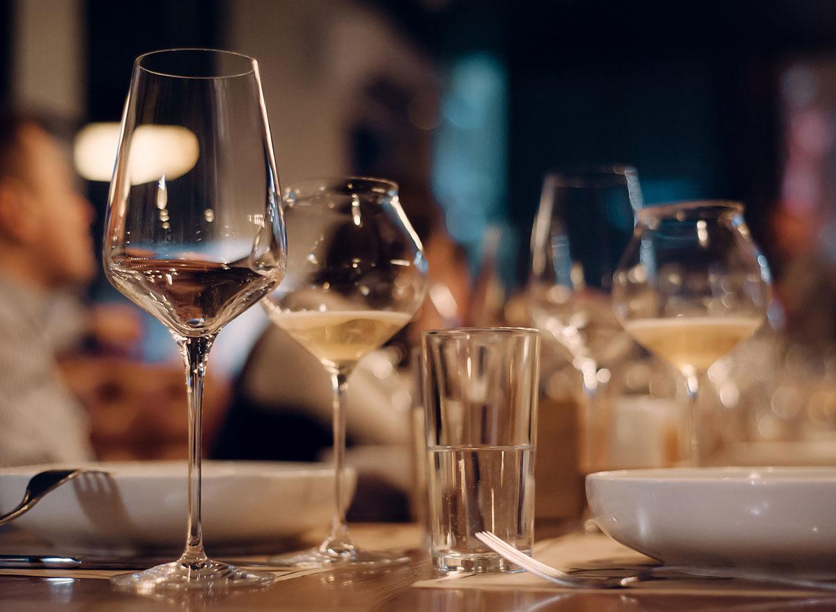 Biodynamic wine in glasses at the table