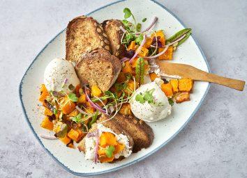 breakfast burrata platter with butternut squash and whole grain bread
