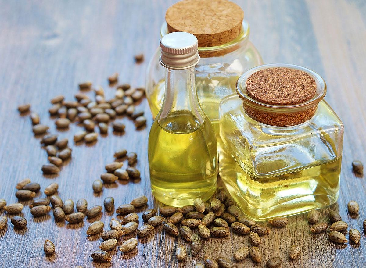castor oil in glass jars