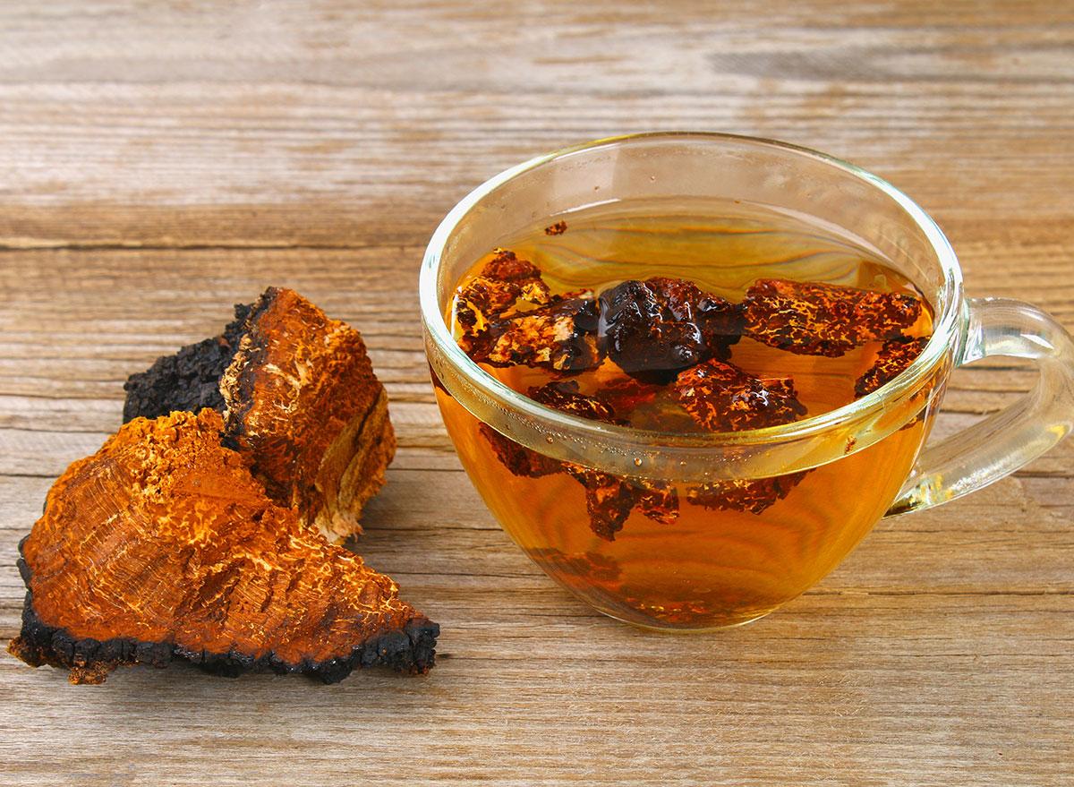 chaga mushroom tea in glass tea cup