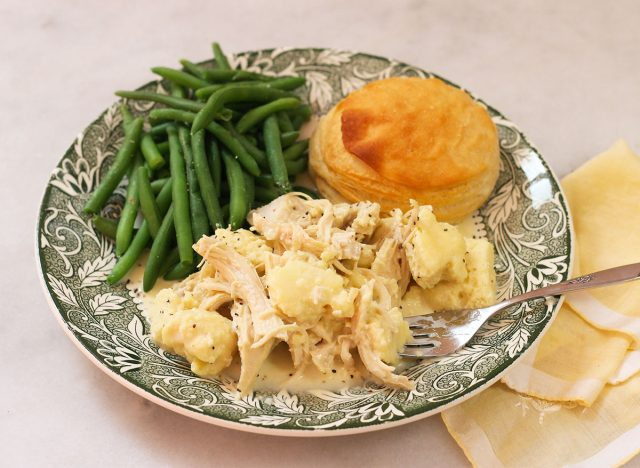 Chicken and dumplings with green beans and biscuit