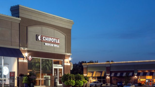 chipotle mexican grill storefront at nighttime
