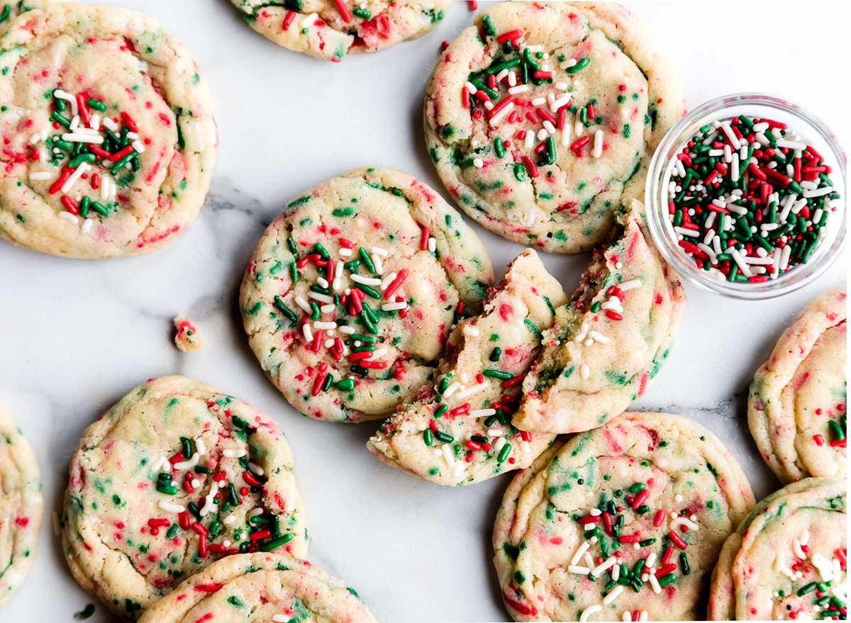christmas sugar cookies with red and green sprinkles