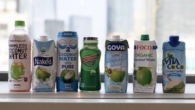 coconut water taste tester bottles on window sill