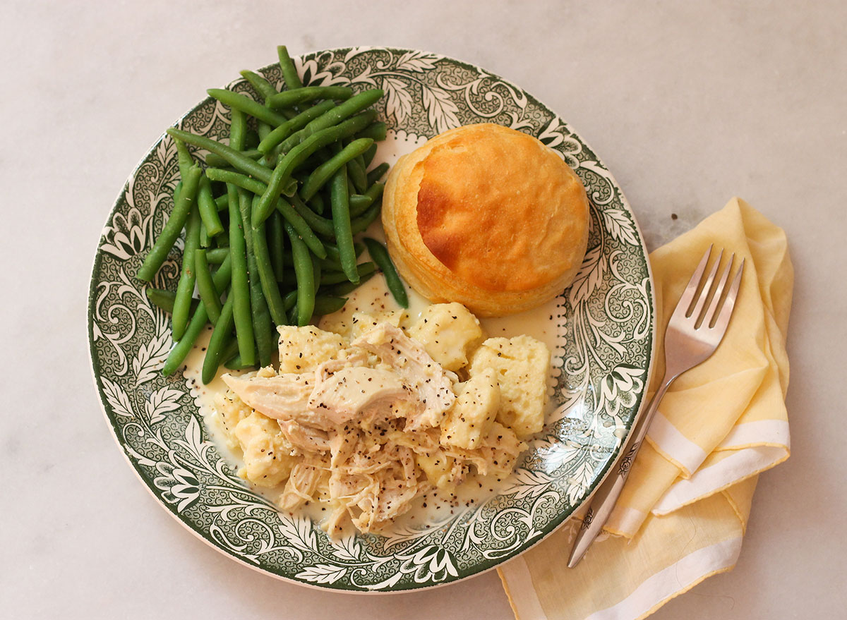 Chicken and Dumplings served with traditional Cracker Barrel sides