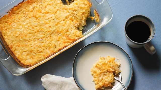 Serving up copycat Cracker Barrel hashbrown casserole with coffee