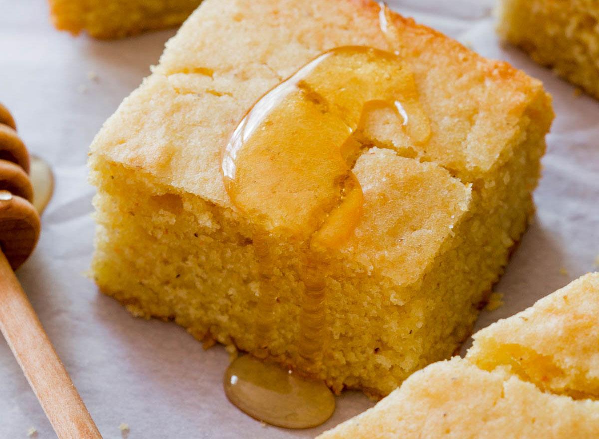 cornbread slice with honey