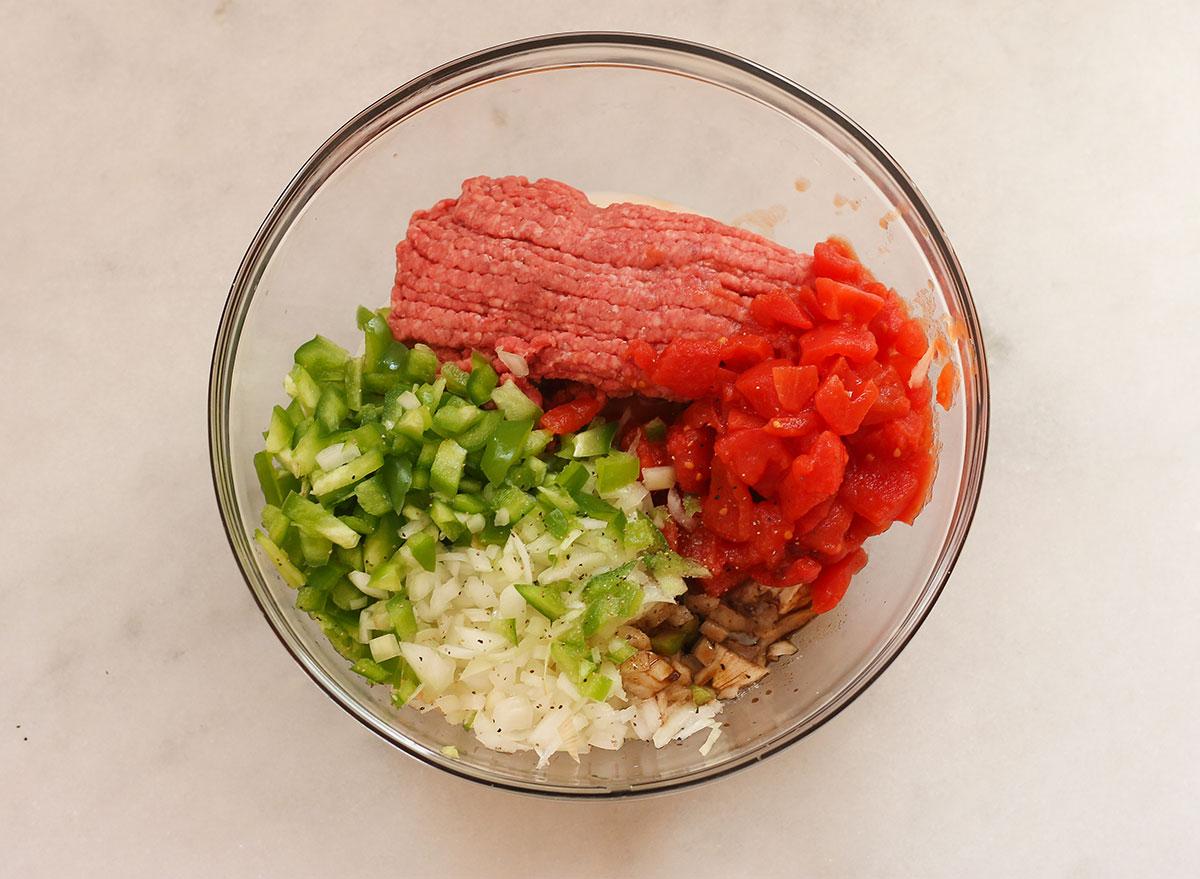 Meatloaf ingredients in a bowl.
