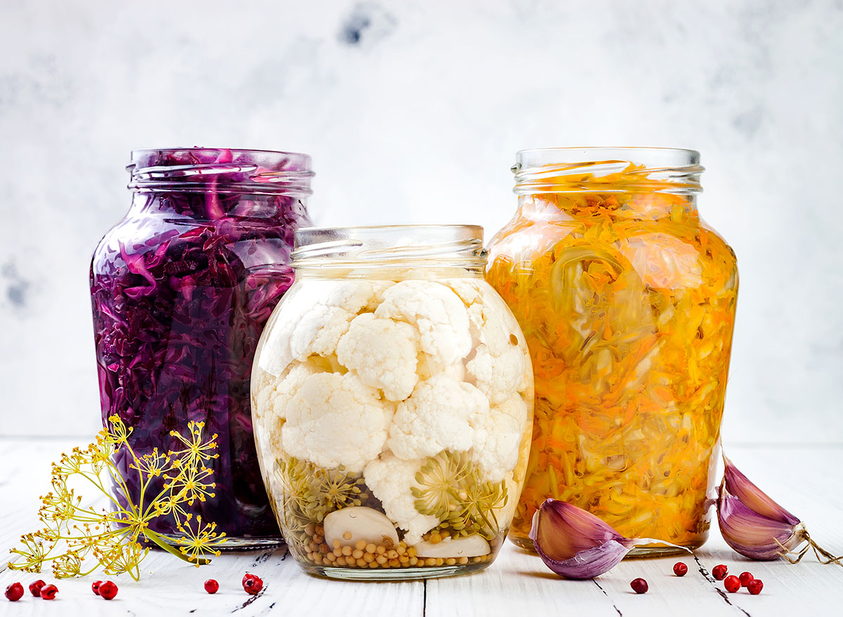 fermented foods in glass jars