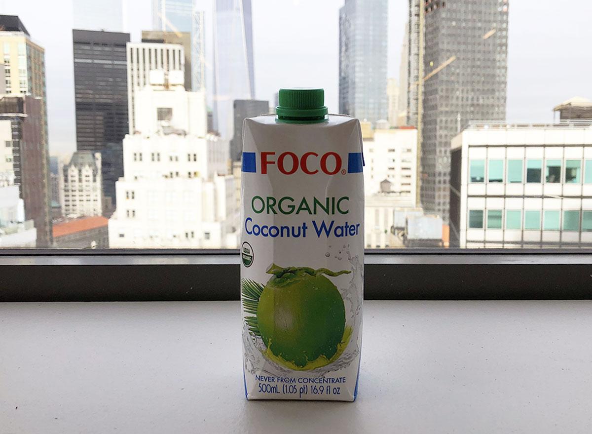 foco organic coconut water bottle by window