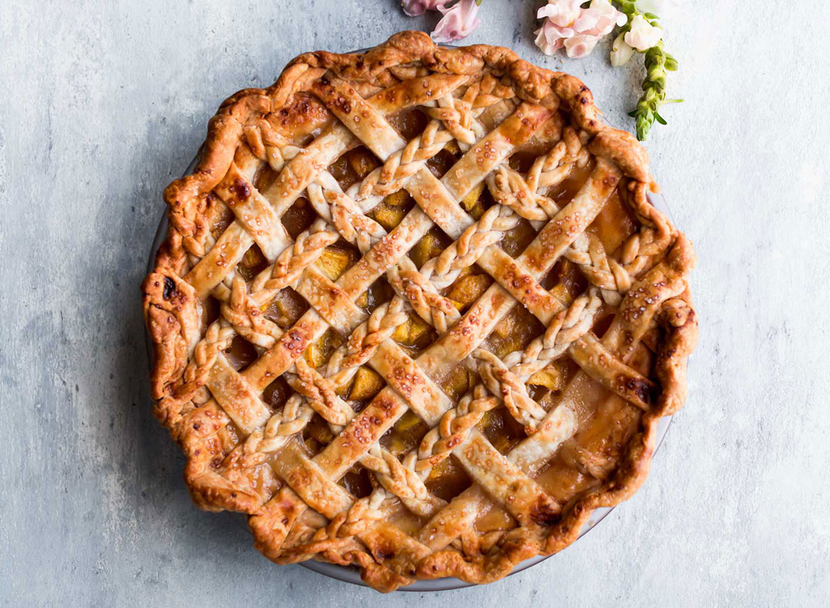 ginger peach whole pie with lattice and braided crust