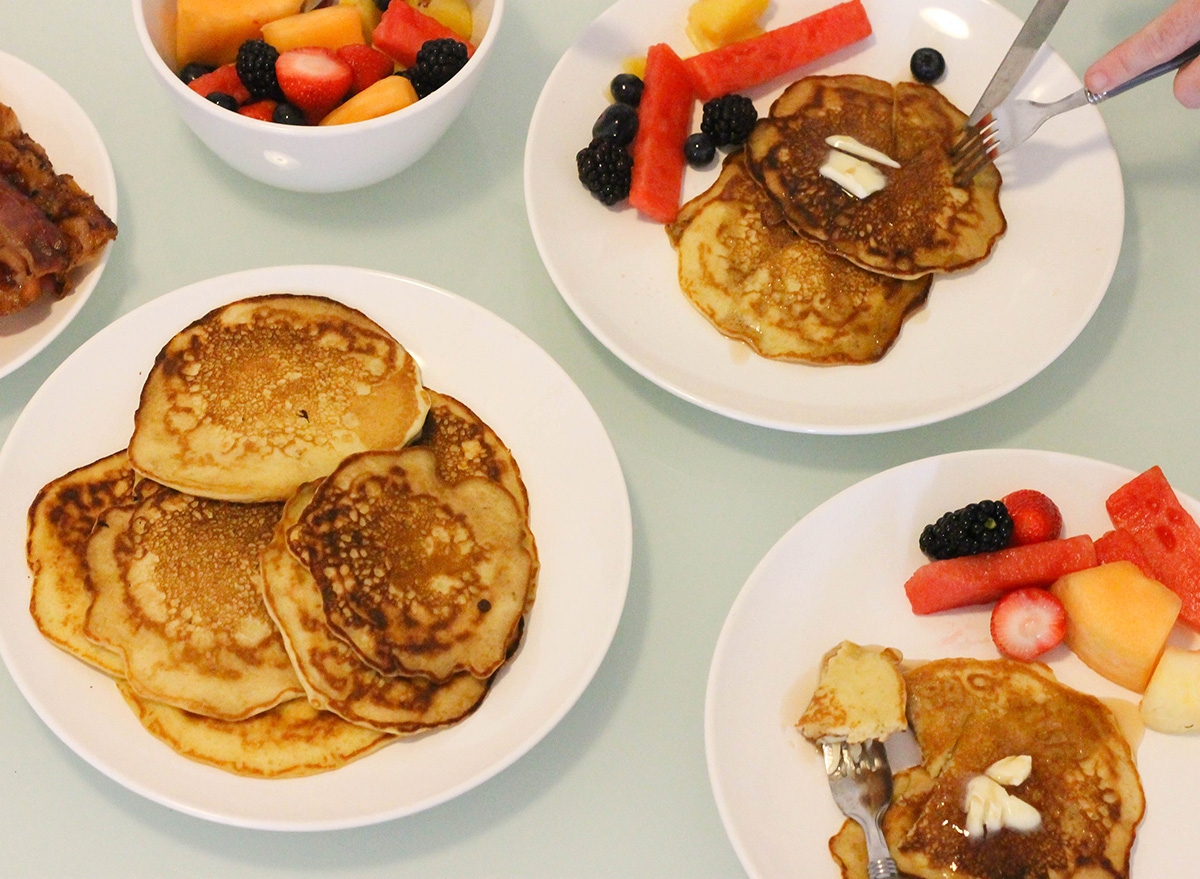 Homemade buttermilk pancakes with fruit for breakfast