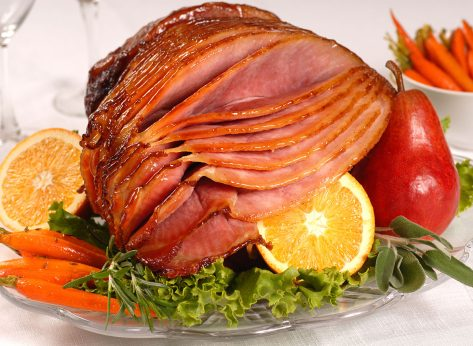 honey glazed ham with fruits and vegetables