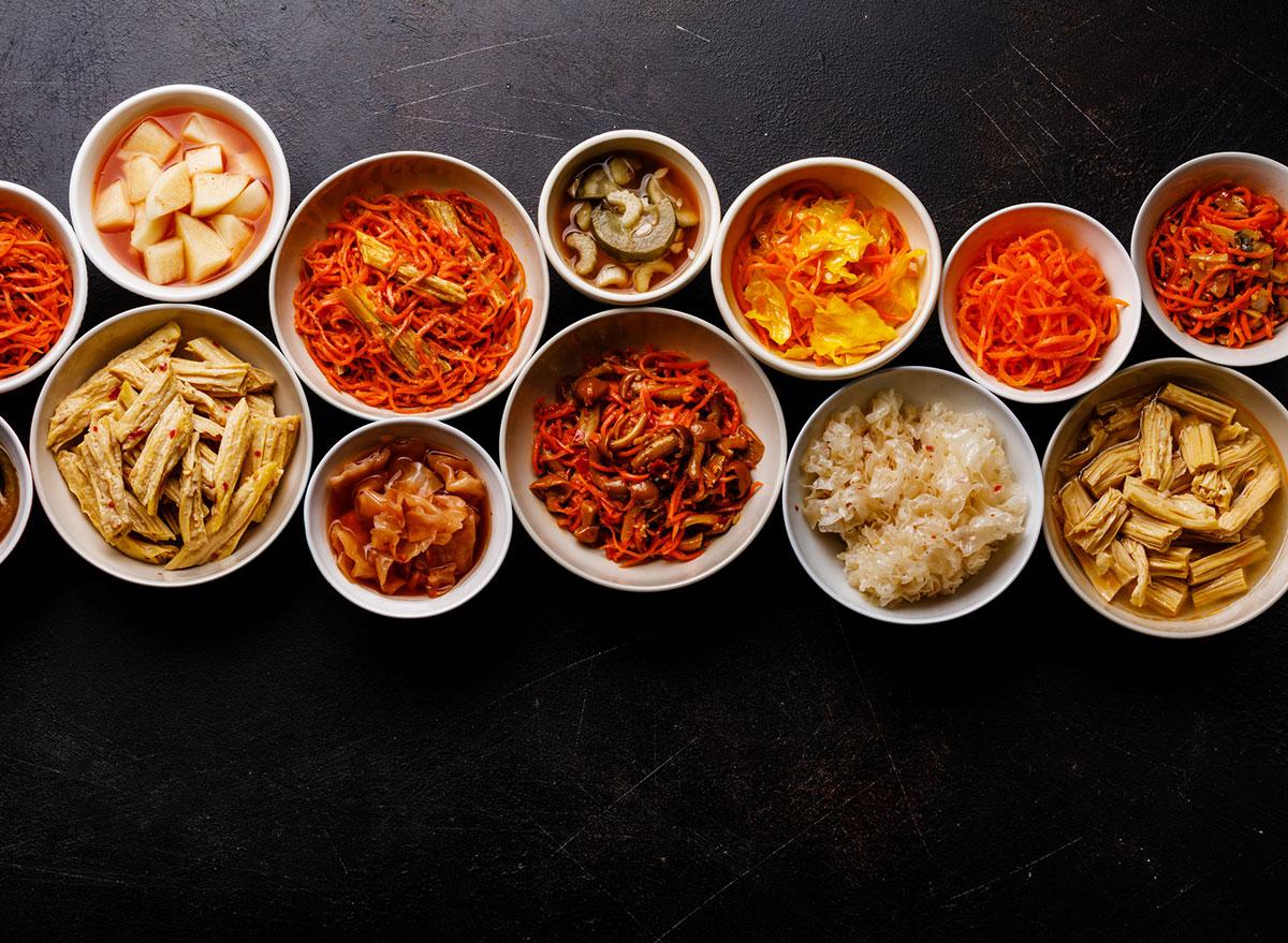 bowls of korean food pickled vegetables