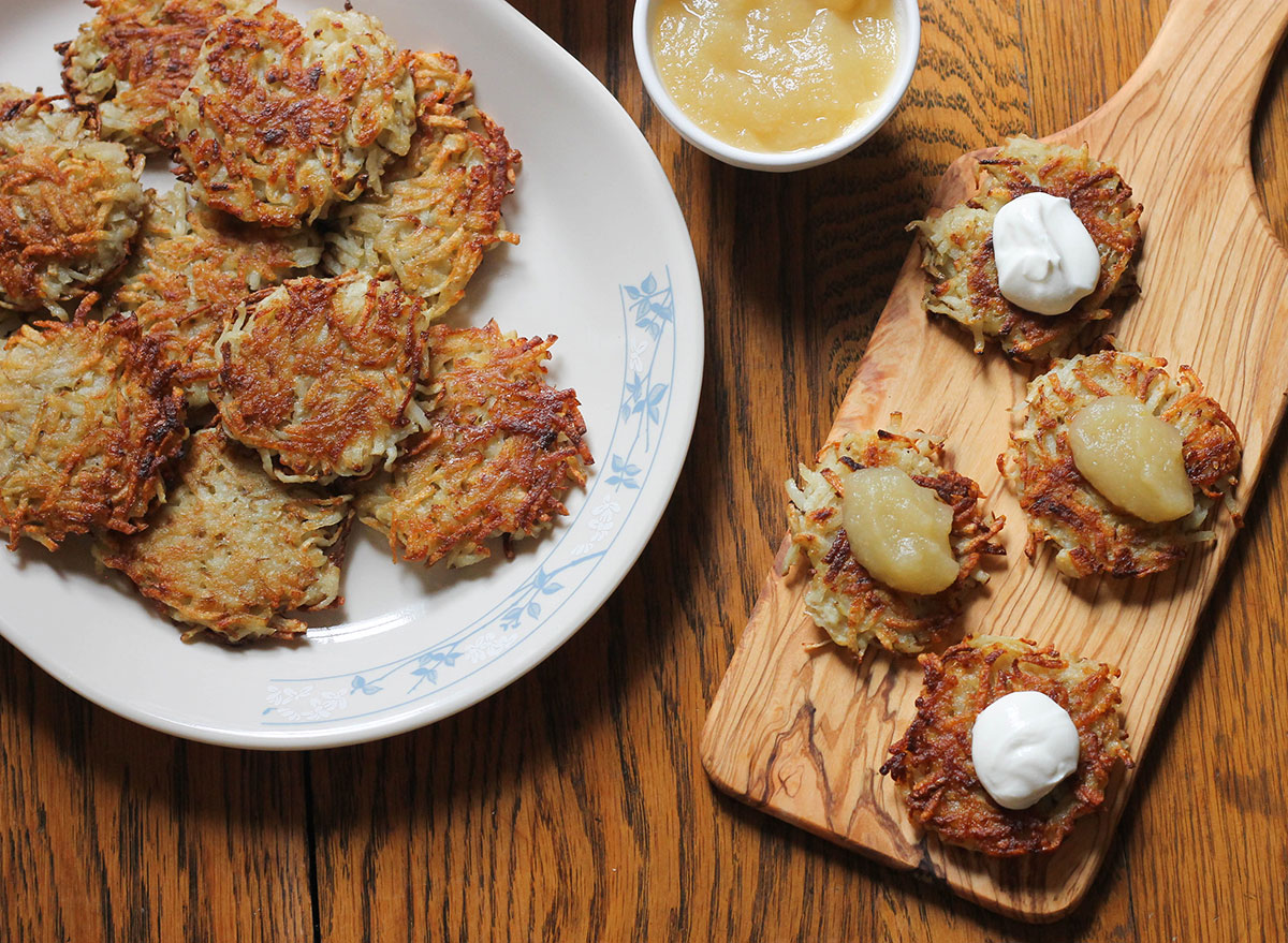 Finished latkes with sauces ready to eat on Hanukkah